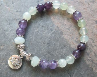Amethyst & Infinite Stone/Serpentine Lotus Meditation Bracelet - Chakra/Yoga/Metaphysical Jewelry