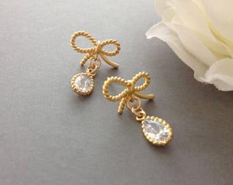 Love Knot Earrings, Knot Earrings Bridesmaid, Gold Plated Knot Earrings, Gold Bow Earrings, Tie The Knot Earrings, Dainty Stud Earrings
