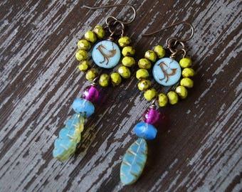 Boho Bold Earrings - Olive Green and Blue - Bird Earrings - Hoop Earrings - Rustic Earrings - Long Earrings - Bead Soup Jewelry