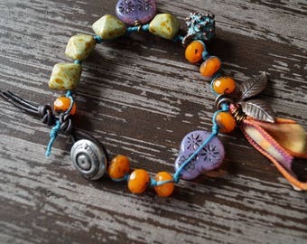 Unlisted - Skull Bracelet - Bright Colors - Evil Eye - Festive Fall Jewelry - Boho Knotted Bracelet - Purple and Orange - Bead Soup Jewelry