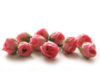 10 Pink Tea Roses - Artificial Flowers, Silk Roses, Small Flowers
