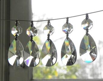 12 Almond shape leaded cut crystal pendants chandelier wall sconce suncatcher LAMP PARTS