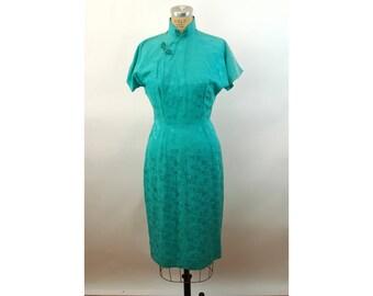 1960s silk Cheongsam dress turquoise green jacquard Made in Hong Kong