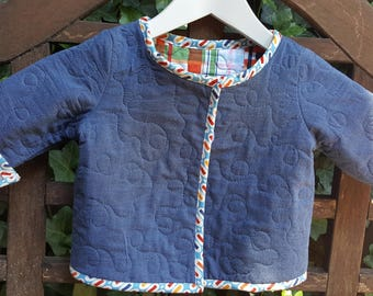 Handmade Quilted Cotton Baby Jacket/Cardigan