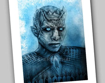 Game of Thrones Whitewalker Night King Portrait, Undead Zombie Horror Design, Art Print, Sale