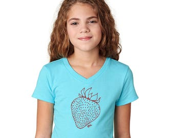 Strawberry Shirt For Girls, Sporty Vneck Short Sleeved Tshirt, Graphic Tee Shirt, Summer Tshirt Strawberry Patch Kids Birthday Party Shirts