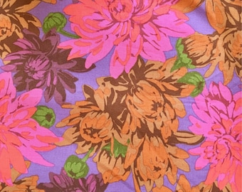 Martha Negley OOP, rare Packed Mums, Fuschia, large repeat floral fabric, by the half yard, yardage available