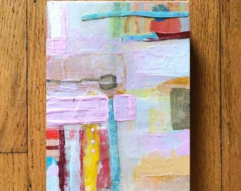 Original Acrylic Abstract Painting on Paper Mounted on Wood (2'' deep), Peach, Navy, Brown, White Color Scheme, Ready to Hang 6 x 8