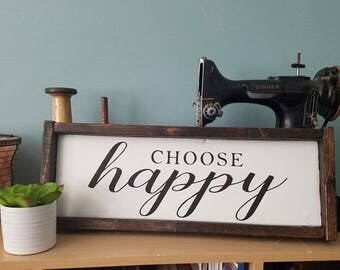 Choose Happy Wood Sign in White / Farmhouse Sign / Inspirational Decor /  Shabby Chic Decor