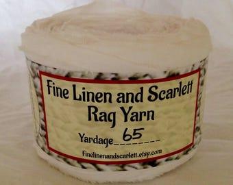 Rag yarn, Rug making, Fiber Arts supplies, White cotton