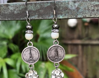 Upcycled Vintage Eiffel Tower Assemblage Earrings,ooak,Paris,Repurposed