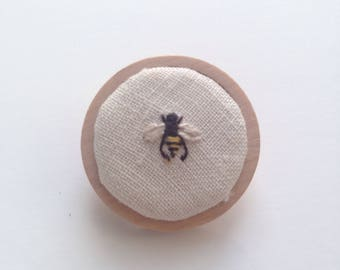 Little Bee Embroidery Brooch Pin