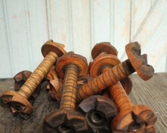 SALE Today Small Vintage Wooden Bobbin Industrial Era Ratcheted Spools Organize Display Home Decor