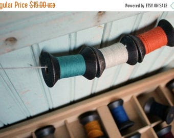SHIPS TOMORROW 6 Blackened Colorful Thread Spools - Primitive 2 Inch Wooden Bobbins - Set of 6 Rustic Decor