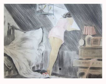 LOUIS ICART original drawing watercolor  sketch preparatory sketch for the Attic Room  not an etching