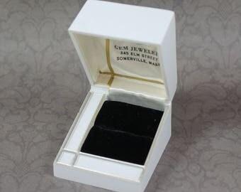 Vintage White and Gold Plastic Velvet Lined Ring Box