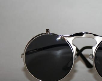 Silver Round Lennon Sunglasses Flip up Lens