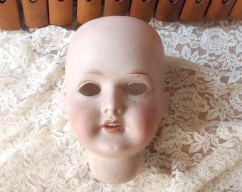 Salvaged Creepy Bisque Doll Head to Repurpose - CM Bergmann Wallershausen German Doll Head