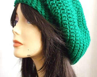 Slouchy Hat Women // Oversized Womens Hat // CHRISTMAS GREEN // Men Slouchy Hat // Fun Colorful Winter Hat //  Ready to Ship Great Gift Idea