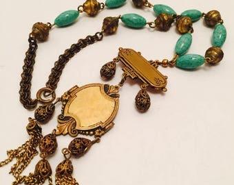 CIJ SALE Christmas JULY Beautiful Victorian Art Nouveau Brass Drop Green Peeking Glass Vintage Antique Necklace