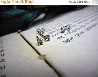 SALE The Sol Demure Rough Diamond Earrings . Petite Rough Raw Uncut Tiny Yellow Diamond and sterling silver post stud earrings. Handmade Rus