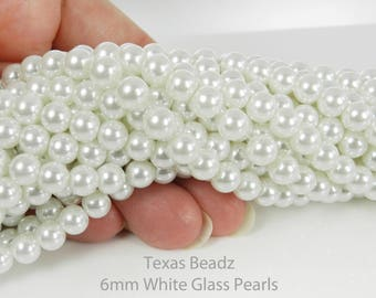 6mm White Glass Pearl Beads Loose 6mm Round Faux Pearls Immitation Pearls DIY Wedding Supplies