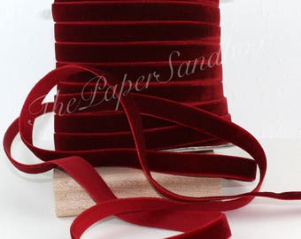 """Burgundy Velvet Ribbon, 3/8"""" wide by the yard, Chokers, Wine Velvet Trim, Gift Wrapping, Wedding, Christmas, Costumes, Party Supplies"""