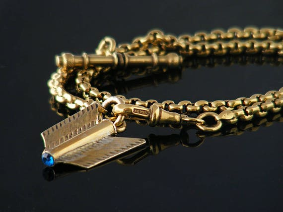 Antique Fob Chain | Rolled Gold Albert Chain with T Bar and Arrow Flight Fob Ornament | Pocket Watch Fob Chain Bracelet - Azure Blue Crystal