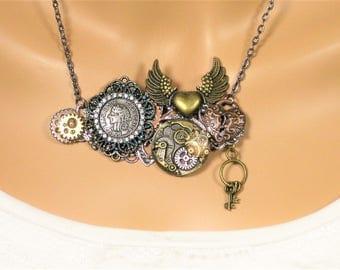 Steampunk Necklace, Steampunk Jewelry, Bohemian Necklace, Bohemian Jewelry, Steampunk, Steampunk Gears, Steampunk Costume, N920