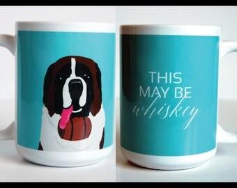 Saint Bernard Dog 15 oz Mug, Funny Mug, Dog Coffee Mug, Cute Mug, 2 sided Mug