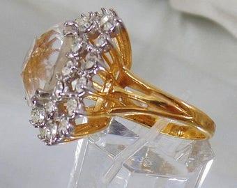 SALE Vintage Huge CZ Faux Diamond Cocktail Ring.  Yellow Gold 18K Hge Cz Vintage Ring