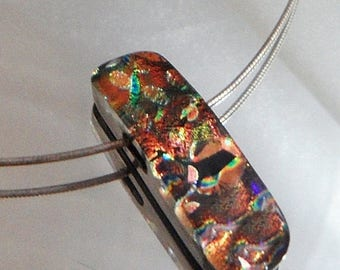 SALE Vintage Fused Dichroic Glass Necklace. Choker. Sterling Silver. Handmade Bead. Green. Purple. Orange. Black.