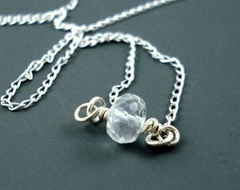 Aquamarine Necklace, Natural Aquamarine Single Rondelle on a  Sterling Silver 16 or 18 Inch Chain