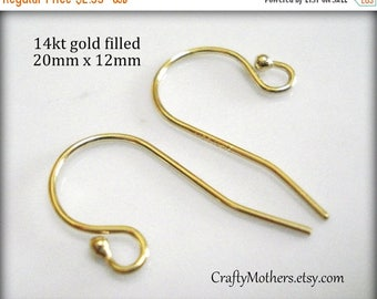 7% off SHOP SALE 14kt Gold Filled Ball Ear Wires, Sold by the Pair, 21 gauge, 19.5mm x 11mm, simple elegant, select a quantity