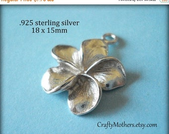 8% off SHOP-WIDE, 2 pieces Bali Sterling Silver Plumeria Flower Charms, 18mm x 15mm, BRIGHT, bridal jewelry
