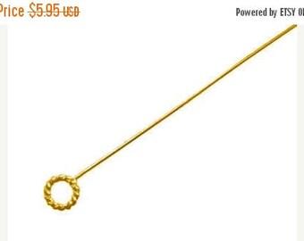 8% off SHOP-WIDE, 10 pieces, 23 gauge, Bali 24kt Gold Vermeil Twist Ring Headpin, 52mm (2 inches) long, 5mm diameter rings, artisan