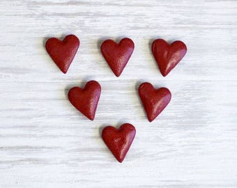 Small Magnets / Set of 6 / Red Hearts / Heart Magnet / Valentine / Red Heart Magnet / Valentine Hearts / Salt Dough Magnets