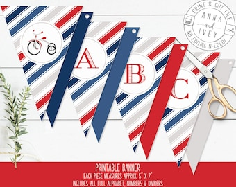 Blue and Red Tricycle Banner, Birthday Banner, Vintage Tricycle, Ready-to-Print {Letters, Numbers & Dividers Included}