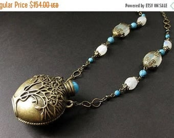 SUMMER SALE Tree of Life Necklace. Moonstone Necklace. Turquoise Necklace. Amphora Bottle Necklace. Handmade Necklace. Handmade Jewelry.