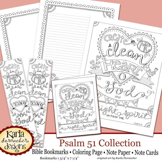 psalm 51 coloring page - psalm 51 create in me a clean heart bible journaling color