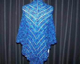 Beautiful Turquoise and Purple Shawl, Hand Crochet Shawl, Wrap, Cape