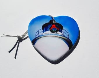 Ocracoke Island Lighthouse Holiday Christmas ornament heart shaped porcelain ready to hang