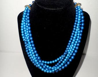 Vintage Multi Strand Two Toned Blue Necklace