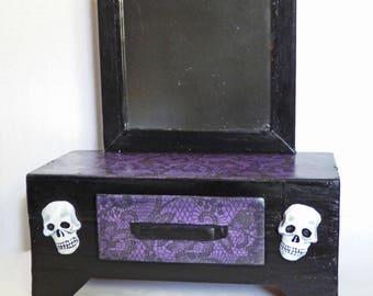 Gothic Stash Box - Jewelry Box - Vanity Style Box - Upcycled Wood Box - Box with Skulls - Gothic Home Decor