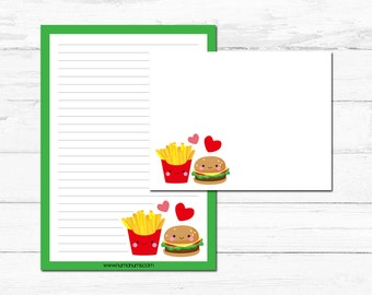 Stationery Set - kawaii burger & fries - letter writing