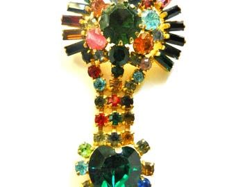Gaudy beautiful dangle design multicolor rhinestones brooch - green emerald heart and many colored sparks - art.867/4