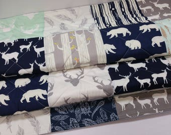 Baby Quilt Boy Quilt-Navy-Mint-Gray-Grey-Rustic Woodland Baby Bedding-Crib Bedding-Modern Patchwork-Deer-Buck-Antlers-Feathers-Baby Blanket