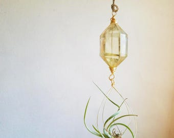 Hanging Planter For Air Plants, Crystal Air Plant Holder, Golden Citrine, November Birthstone Small Space Garden,  Winter Gift