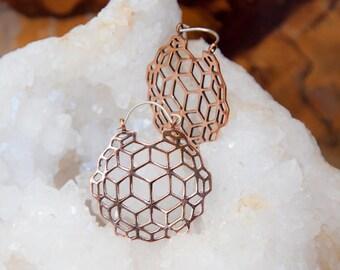 Esoteric Copper Hoops Earrings, Copper earrings, Tribal jewellery, brass hoops, Geometry earrings, sacred geometry jewelry, TRIBU