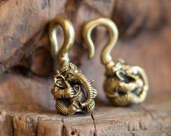 Ganesh Ear weights, Ear Stretchers, Traditional Ganesh Brass Ear Weights, Tribal Jewellery, Body Jewellery,  Carved Ear Weight